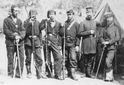 Members of 4th Michigan Infantry taken at Pine Grove, Virginia on Dec. 15, 1861, Capt. H. H. Jeffords 2d from right; Library of Congress