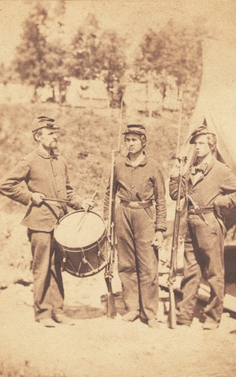 Reverse side of this image identifies drummer as Eugene Garvin of Co. C, 4th Michigan Infantry; (20 Oct 1861)