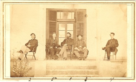 Staff officers while stationed in Texas, left to right...Capt. George Rathbun, 1st Lt. Charles B. Wood, Brev. Brig. Gen. William Houghton, Capt.Charles Wood, 1st Lt. William F. Bradley; David Finney Collection