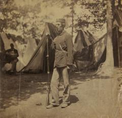 Unidentified Member of 4th Michigan in Camp B; USHEC