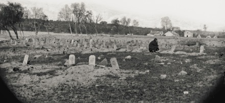 A post-war view of the Cemetery on Belle Isle. Note the location of the cemetery in juxtaposition to buildings in the background which are the same buildings in the other photo.