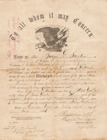 Byron G. Saxton's Discharge Certificate