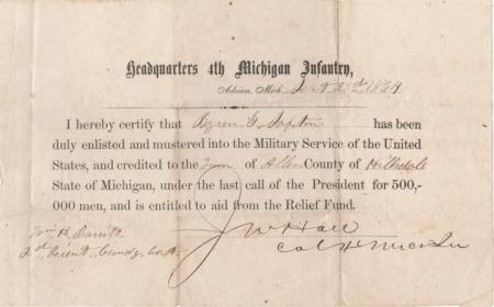 Byron G. Saxton's Enlistment Record