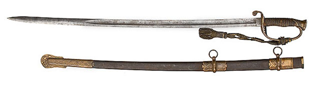 Presentation sword issued to Captain David Marshall by his men in Co. G