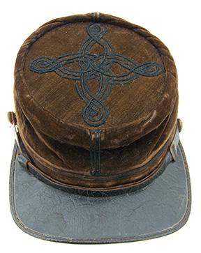 Lt. Carleton's rare velvet chasseur-style kepi features embroidered quatrefoil on it's crown