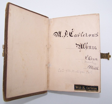 Carleton penned his id inside the cover of the album in a artistic script