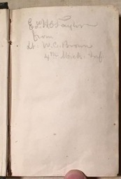 Inscription of Sgt. Taylor's manual