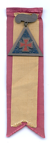 Double Corp badge owned by 1st Lt. Melancthon Millerd. He served in the original Fourth Michigan Inf. while it was in the Fifth Corp (the malteses Cross emblem) and then served in the Fourth Corp (triangle emblem) while in the Re-org. 4th Mich. Inf;Dale Niesen collection