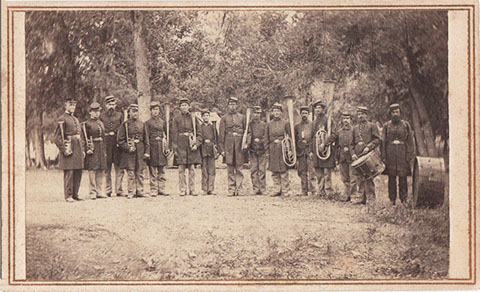 The Band of the Reorg. 4th Mich. Inf. Taken 4 miles from San Antonio, Texas near the Salado River