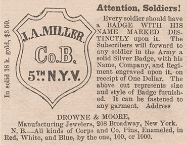 A New York jeweler's advertisement for soldiers identification badges