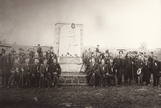 Fourth Mich.Inf. veterans at their monument at Gettysburg (a)
