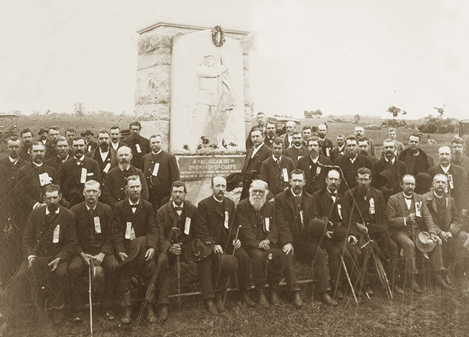 Fourth Mich.Inf. veterans at their monument at Gettysburg (b); Kowallis Collection