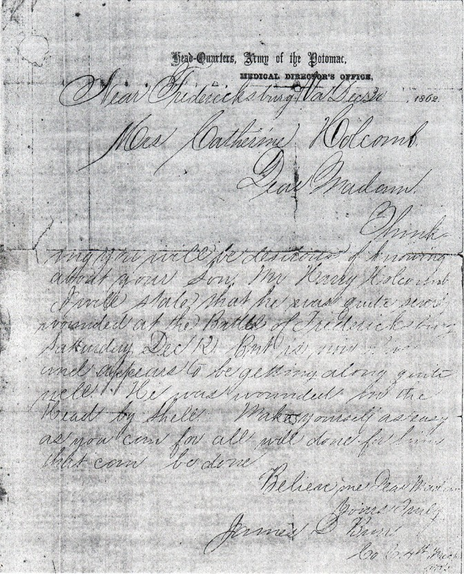 Holcomb letter dated 12-30-1862