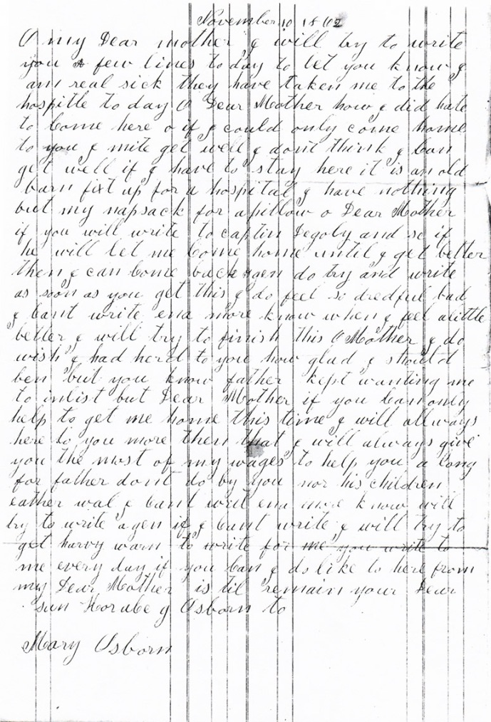 Osborn letter dated 11-10-1862