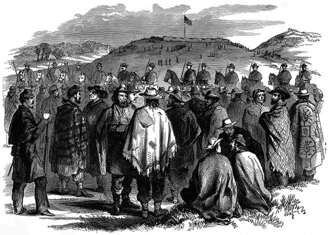 Illustration from Frank Leslie's Magazine of Confederate prisoners from Fort Donaldson