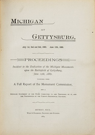"""The tile page of """"Michigan at Gettysburg""""."""