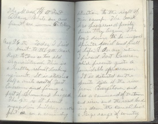 Matthew Baird of Company E of the Third Mich. Inf. August 26, 1861 diary entry