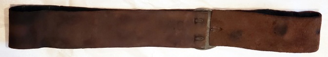 Interior view of a NCO or Musician's Baldric that has been modified for use as a musician's belt.