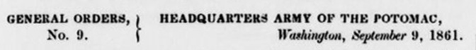 G. O. # 9 Fort Woodbury Sept. 9, 1861(a)