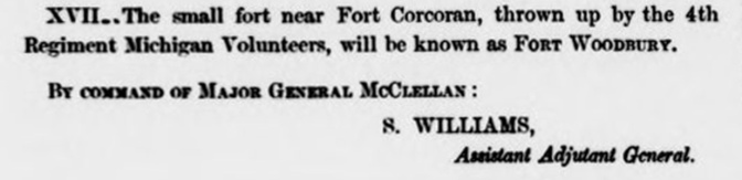 G. O. # 9 Fort Woodbury Sept. 9, 1861(b)