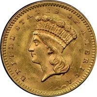 1861 U.S. One dollar gold piece obverse