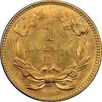 1861 U.S. One dollar gold piece reverse