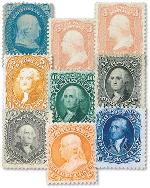 U.S. postage stamps from 1861 -1862