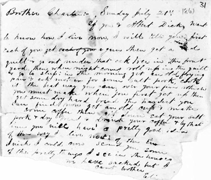 Eli Starr letter dated 7-21-1861