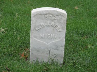 Richard Lassey's tombstone at the National Cemetery in Richmond, Va.