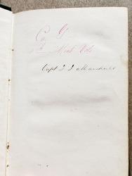 Captain David Marshall's Peronal Copy ofManual of Bayonet Excercise by Major Gen. George McClellan (inscription)