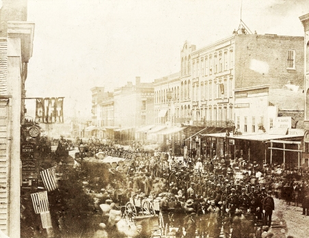 The Fourth Michigan Infantry marches through Adrian, Michigan in 1861